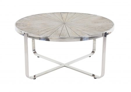 Walmart – Decmode Contemporary Pine Wood and Stainless Steel Radial Coffee Table Only $382.43 (Reg $432.37) + Free Store Pickup