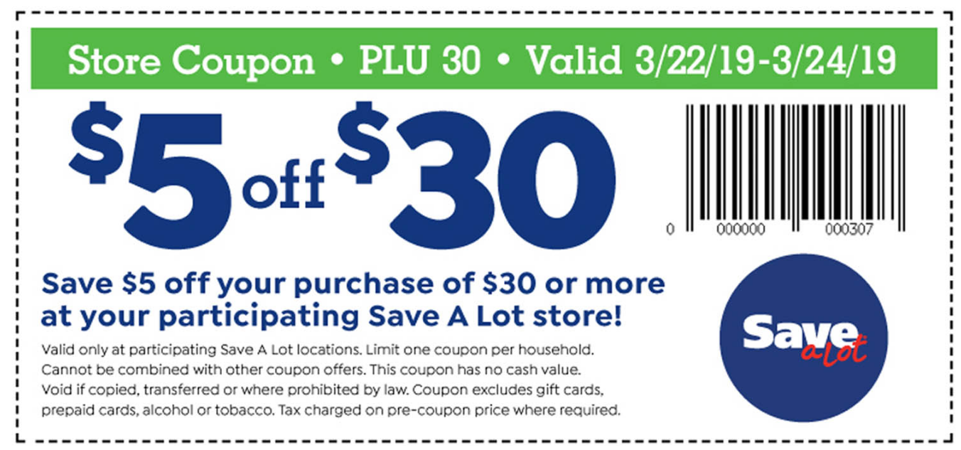 Save-A-Lot: Save $5 When You Spend $30 Printable Coupon