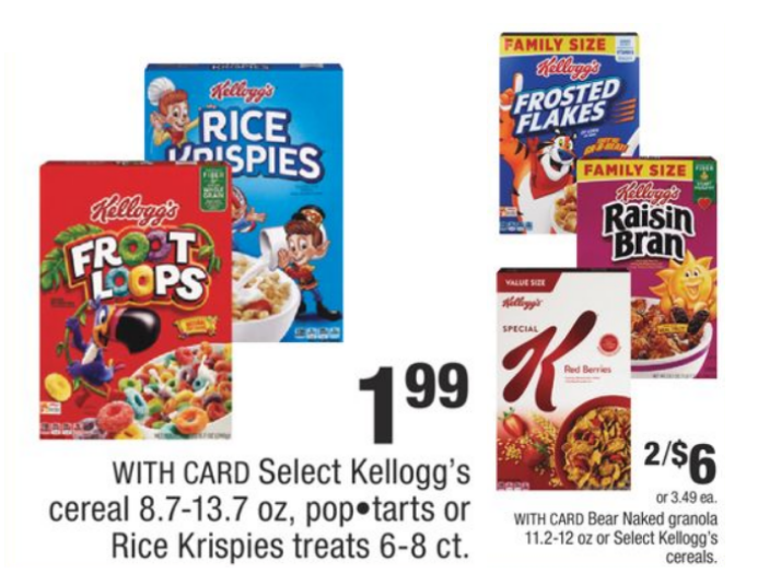 CVS – Kellogg's Cereal 8.7-13.7 oz OR Bear Naked Granola Only 49¢ each!