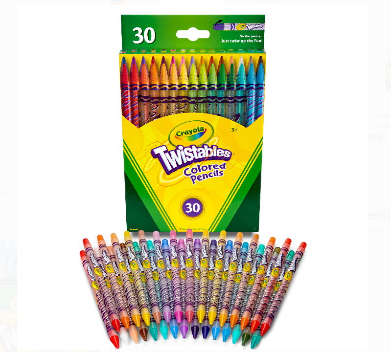 Walmart.com – Crayola Twistables Colored Pencil Set, 30-Colors Only $5.97, Reg $8.22 + Free Store Pickup!