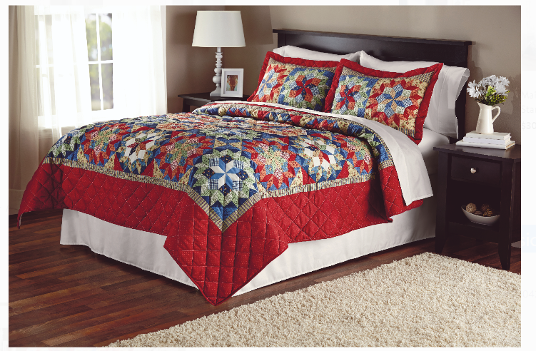 Walmart.com – Mainstays Shooting Star Classic Patterned Red Quilt, Full/Queen Only $17.99, Reg $30.99 + Free Store Pickup!