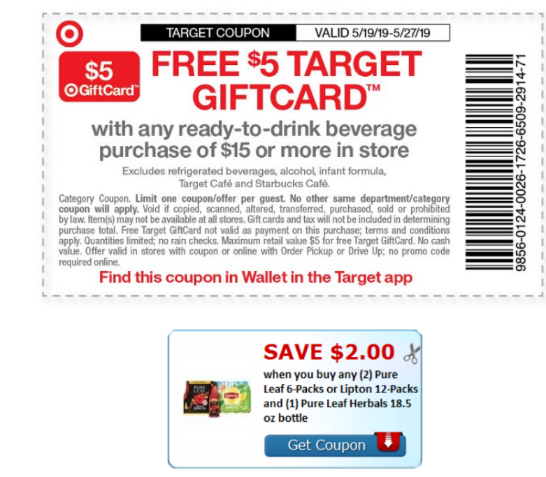 New Printable Coupon – Save $2.00 On (3) Pure Leaf OR Lipton 12-Packs (Pair With $5/15 Target Coupon)