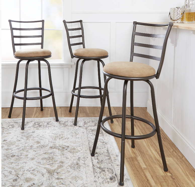 Walmart.com – Up To 70% Off Select Furniture = Set Of 3 Mainstays Adjustable-Height Swivel Barstools Only $69.00, Reg $99.00!