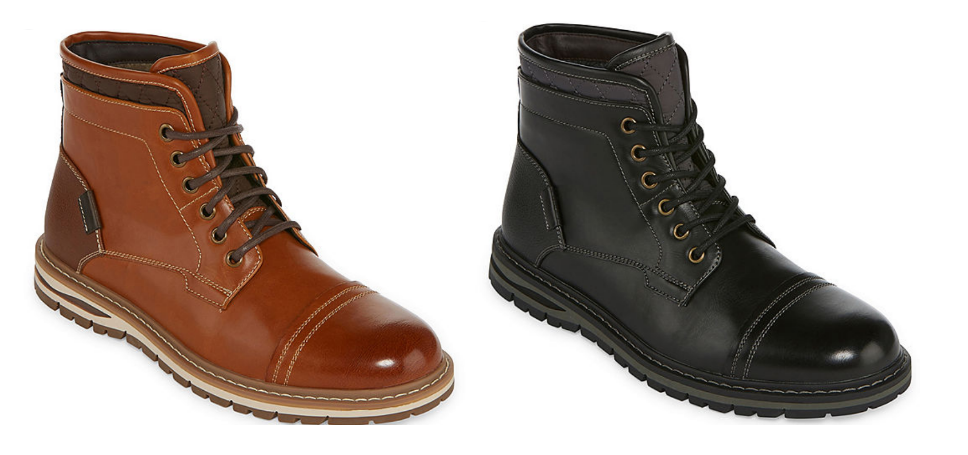 JCPenney.com – JF J.Ferrar Mens Neeson Lace-up Boots (Black or Tan) Only $13.85, Reg $99 + Free Store Pickup!