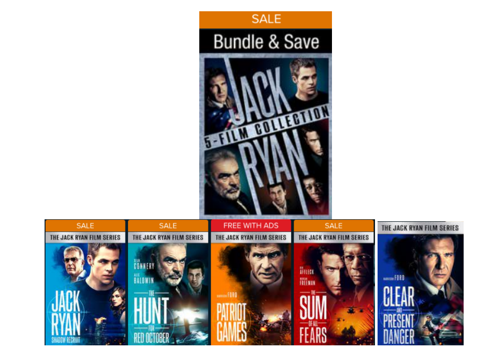 The Jack Ryan 5-Movie Collection (Digital 4K UHD) Only $12.99, Reg $64.95
