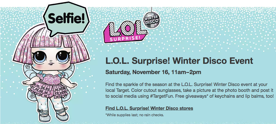 Target – FREE L.O.L Surprise Winter  Disco Event at Target (11/16)
