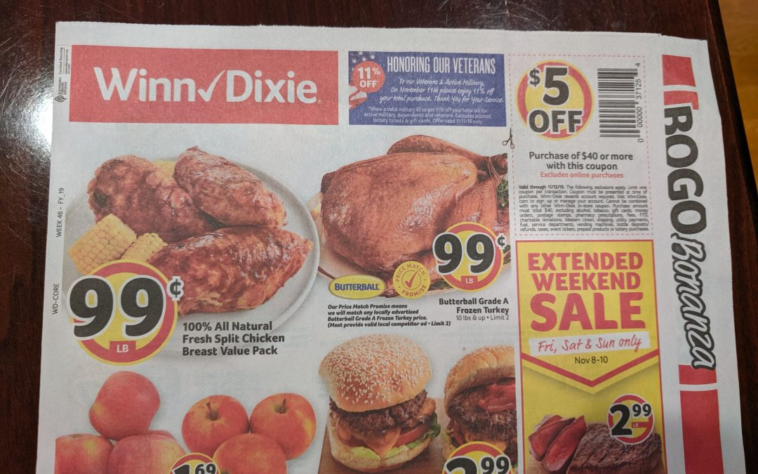 Heads Up! Check Your Mailbox – Winn Dixie Coupon Valid For $5.00 Off $40.00 Purchase!