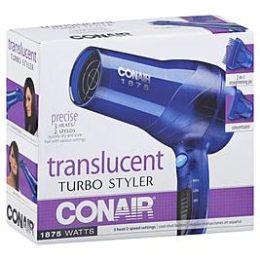 Kmart –  Conair Blow Dryer Styler, Translucent Turbo, 1875 Watts Only $13.59 (Reg $16.99) + Free Store Pickup