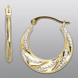 Sears – 10K Yellow Gold Two-Tone Textured Hoop Earrings Only $44.99 (Reg 179.99) + Free Store Pickup