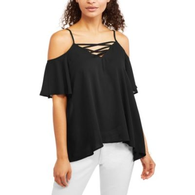Walmart – California Happenings Women's Lattice Cold Shoulder Blouse Only $6.50 (Reg $13.88) + Free Store Pickup