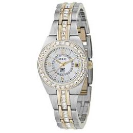Sears – Relic Ladies Calendar Date Watch w/Crystal White Mother-of-Pearl Dial & GT/ST Band Only $67.50 (Reg $90.00) + Free Shipping
