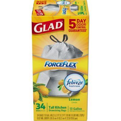 Walmart – Glad ForceFlex OdorShield Lemon Tall Kitchen Drawstring Trash Bags, 13 Gallon, 34 Count Only $7.56 (Reg $15.00) + Free Store Pickup