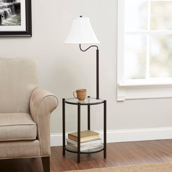 Walmart Mainstays Transitional Glass End Table Lamp Matte Black Only 24 92 Reg 39 99 Free Store Pickup Coupon Terri