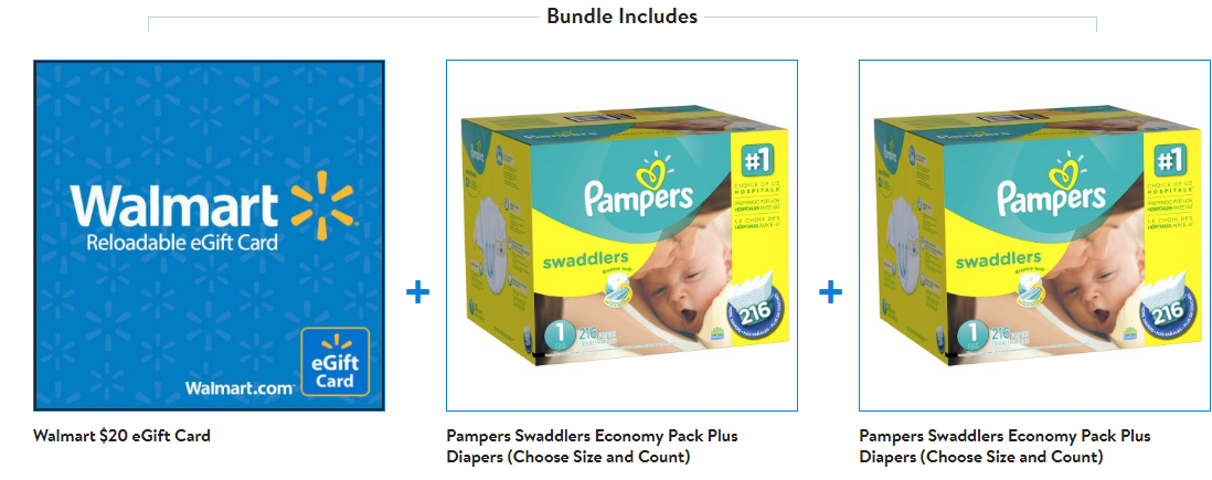 Pampers Swaddlers 2-Pk Economy Plus Diapers + $20 Walmart Gift Card for Only $80 + Free Shipping!