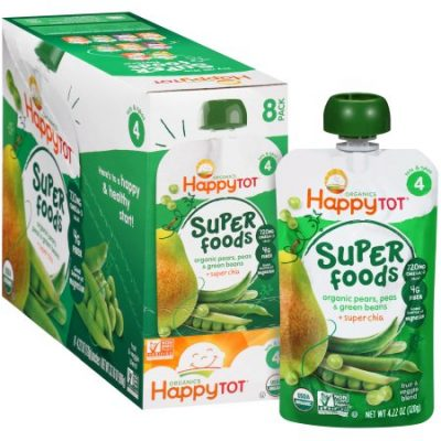 Walmart – Happy Tot Organics Super Foods Pears, Peas & Green Beans + Super Chia Stage 4 Baby Food, 4.22 oz, 8 count Only $8.62 (Reg $10.26) + Free Store Pickup