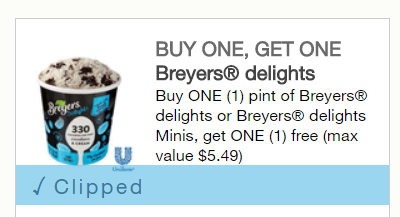 Breyers Delights or Delights Minis Ice Cream Printable BOGO FREE Coupon (up to $5.49)