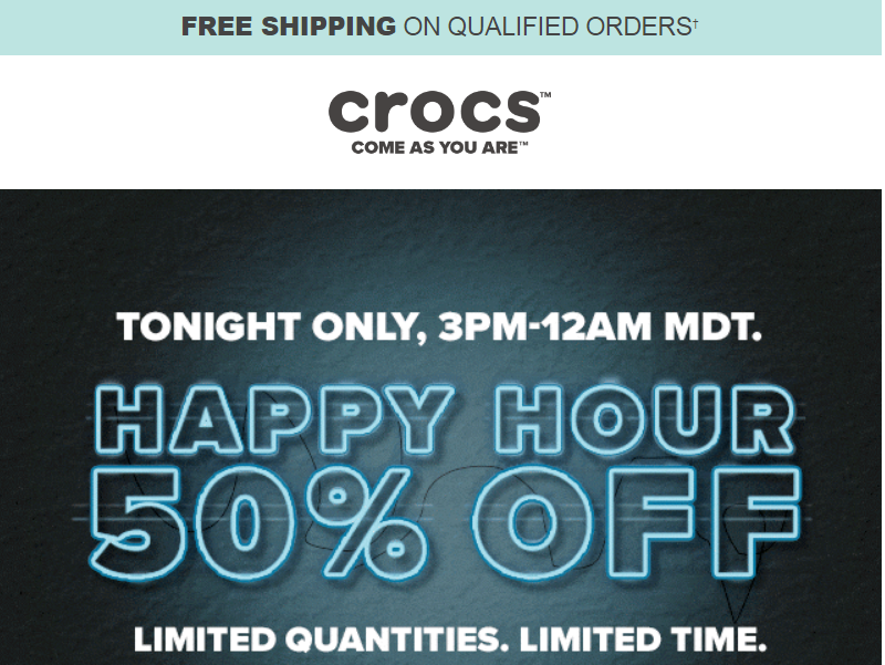 Crocs.com – 50% OFF Happy Hour Sale Ends Today! Croc's As low As $13.59