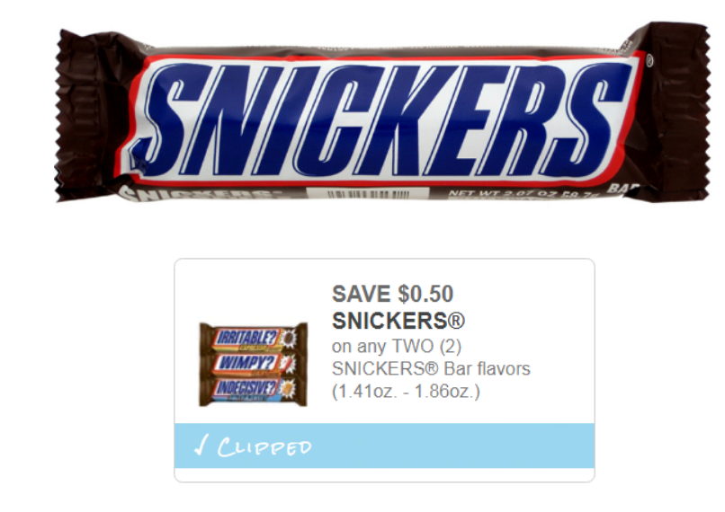 Walgreens – Mars Snickers Candy Bars Only 44¢ Each After Printable Coupon – Print Them Now!