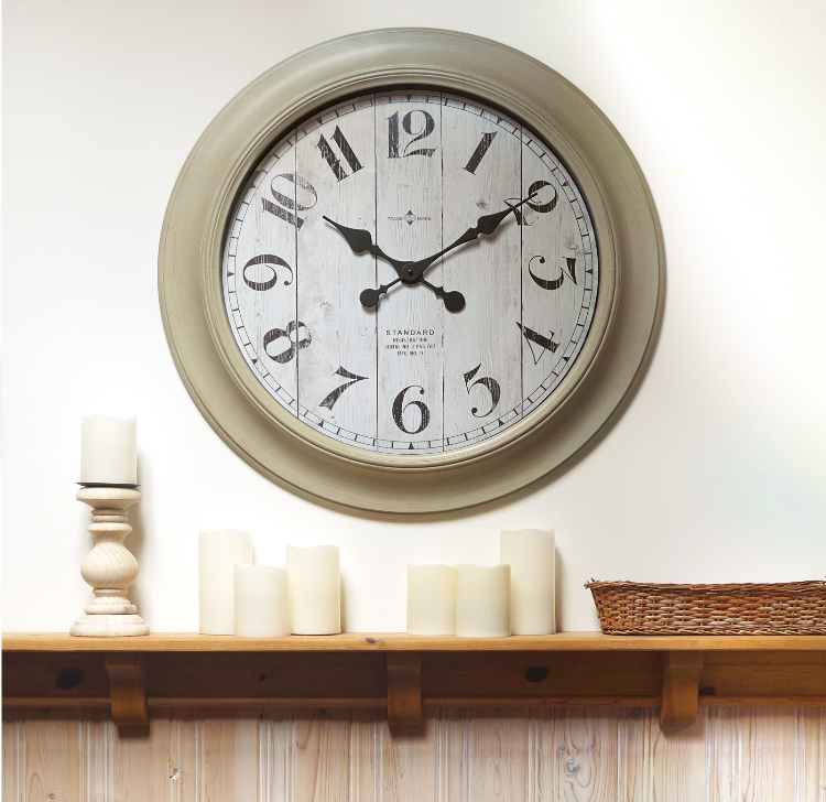 Better Home & Gardens Whitewashed Modern Farmhouse Oversized Wall Clock, 28 Inch Only $14.99, Reg $39.87 + Free Store Pickup!
