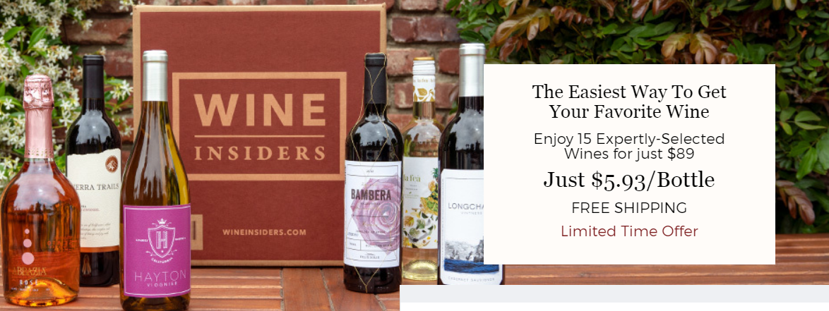 Wine Insiders Club – Receive 15 Expertly Selected Wines For Only $89 ($5.93/Bottle) + FREE SHIPPING!
