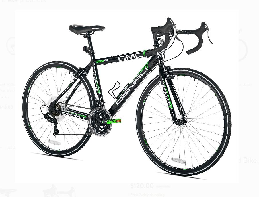 Walmart.com – GMC 19″ 700c Adult Denali Road Bike (Black/Green) $120 & More + Free Shipping!