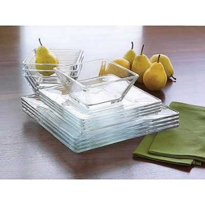 Walmart – Mainstays 12-Piece Square Clear Glass Dinnerware Set Only $19.96 (Reg $24.99) + Free Store Pickup