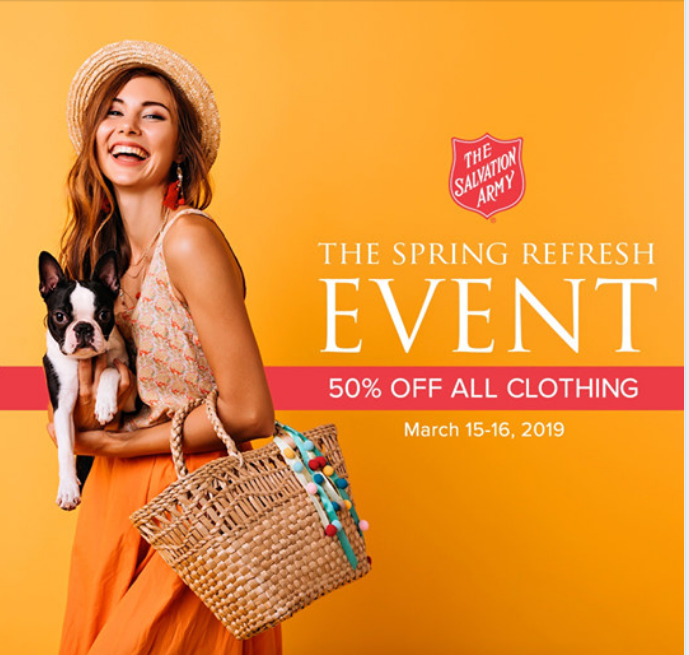 The Salvation Army Spring Refresh Event – 50% Off All Clothing March 15th-16th