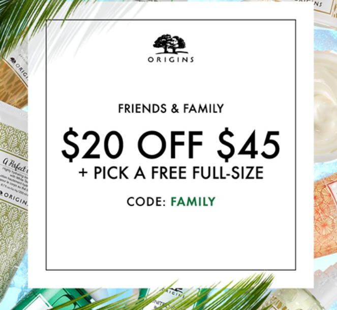 Origin's.com – $20 Off Any $45 Order + Pick a Free Full-Size Treat With Any $65 Order!