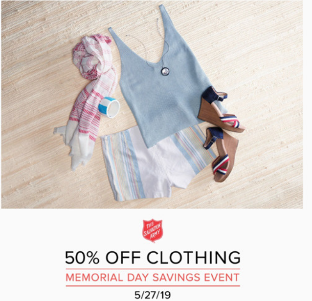 Salvation Army Memorial Day Savings Event May 27 – 50% Off All Clothing!