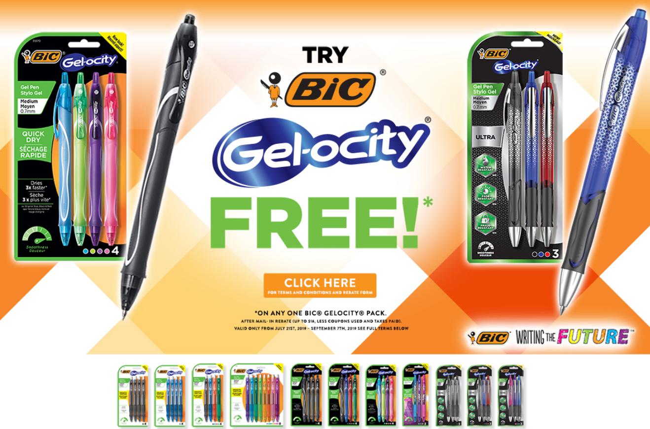FREE Pack of BIC Gel-ocity Gel Pens(up to $16 value) After Rebate