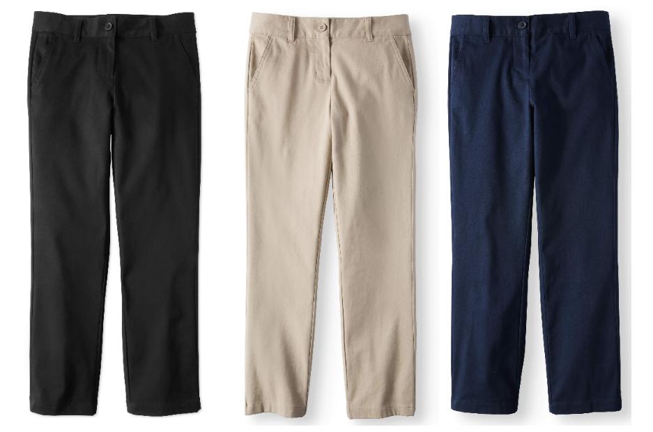 Walmart.com – Wonder Nation Girls School Uniform Stretch Twill Straight Fit Pants Only $5.75, Reg 9.47 + Free Store Pickup!