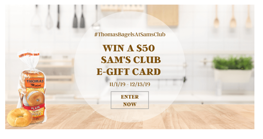 Thomas Bagels At Sams Club Giveaway – Enter To Win One Of Eight $50 e-Gift Cards!