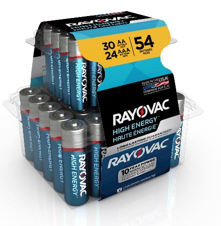Walmart – Rayovac High Energy Alkaline, 30 AA & 24 AAA Batteries, 54 Count Only $9.99, Reg $18.97 + Free Store Pickup!