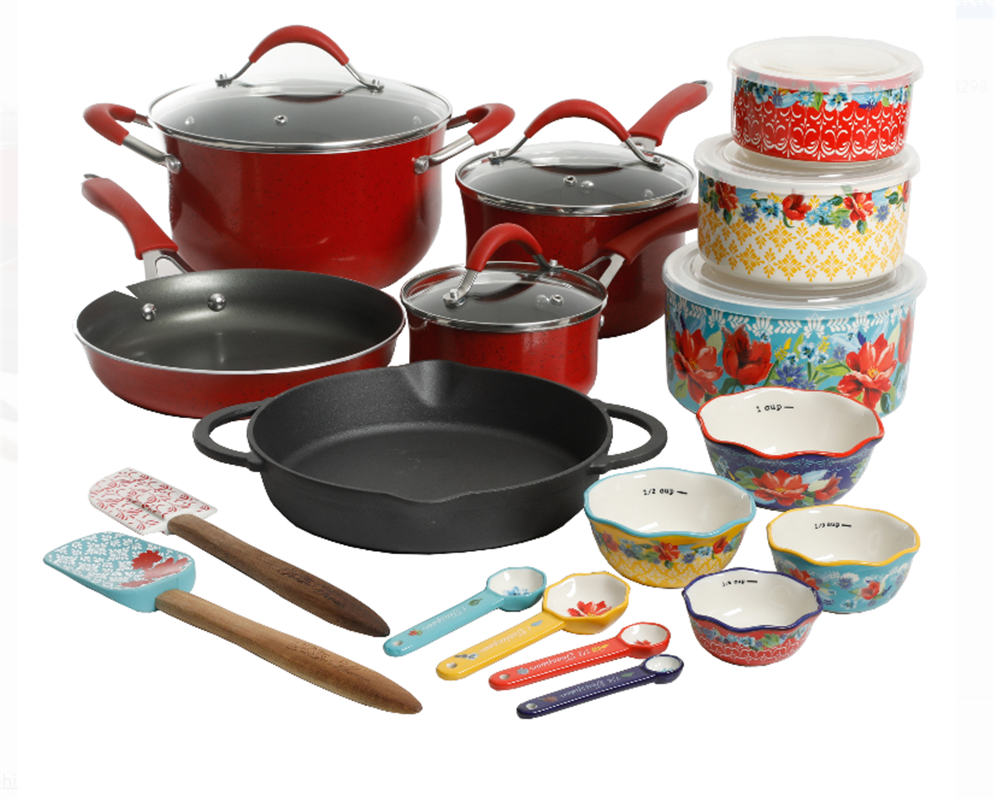The Pioneer Woman Frontier Speckle 24-Piece Cookware & Food Storage Combo Set, Red Only $59.99, Reg $99.00 + Free Shipping!
