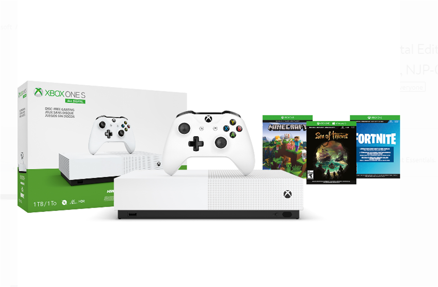 Microsoft Xbox One S 1TB All Digital Edition 3 Game Bundle (Disc-free Gaming) Only $149.00, Reg $249.99 + Free Shipping!