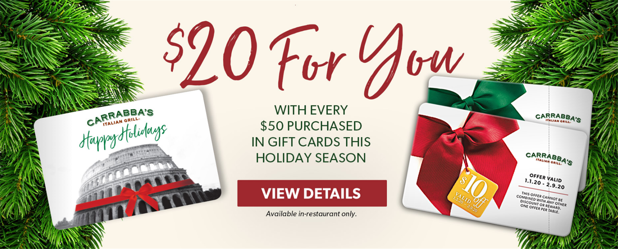 Carrabbas – Get $20 When You Buy $50 In E-Gift Cards