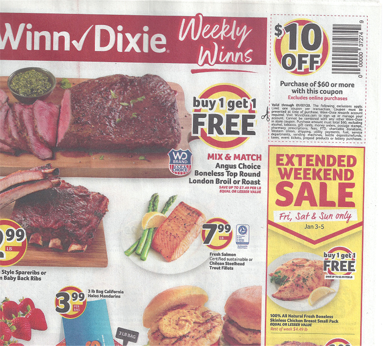 Winn Dixie – $10 Off $60 Purchase Coupon (Check Your Mailbox)