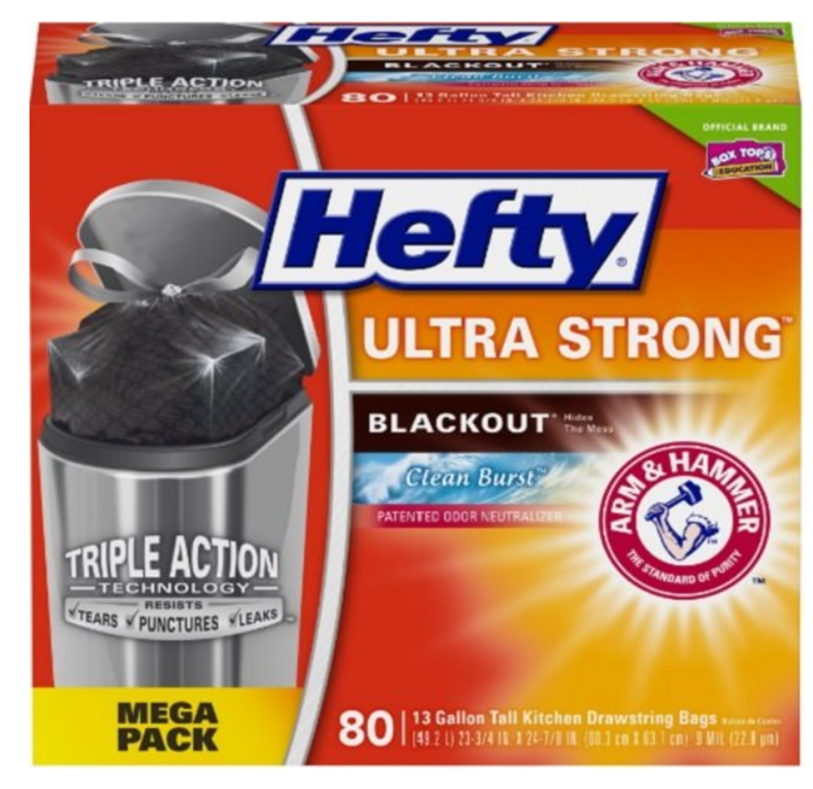 Amazon – 80 Count, 13 Gallon Hefty Ultra Strong Tall Kitchen Blackout Trash Bags Only $9.11, Reg $14.99 + Free Shipping!