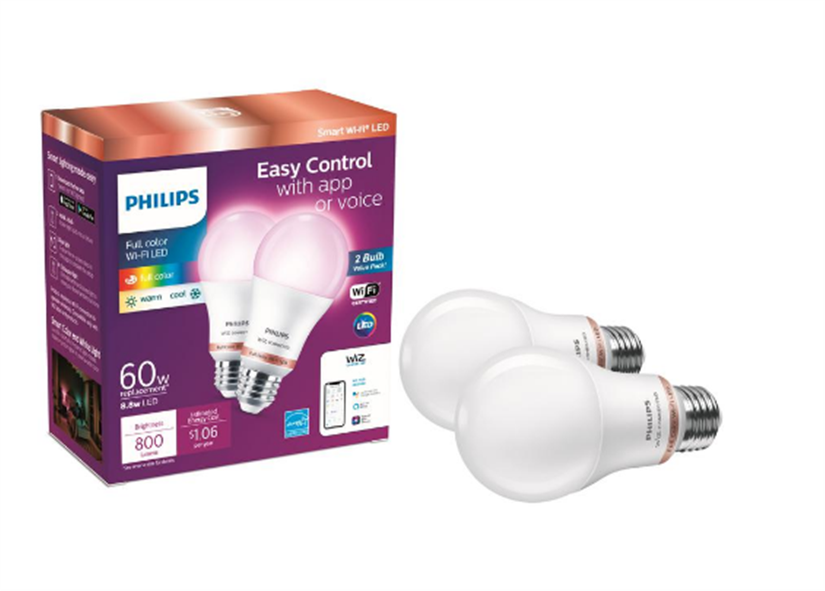 Home Depot – 2 Pk Philips Color & Tunable White A19 LED Dimmable Smart Wi-Fi Light Bulb Only $19.48 + Free Store Pickup!