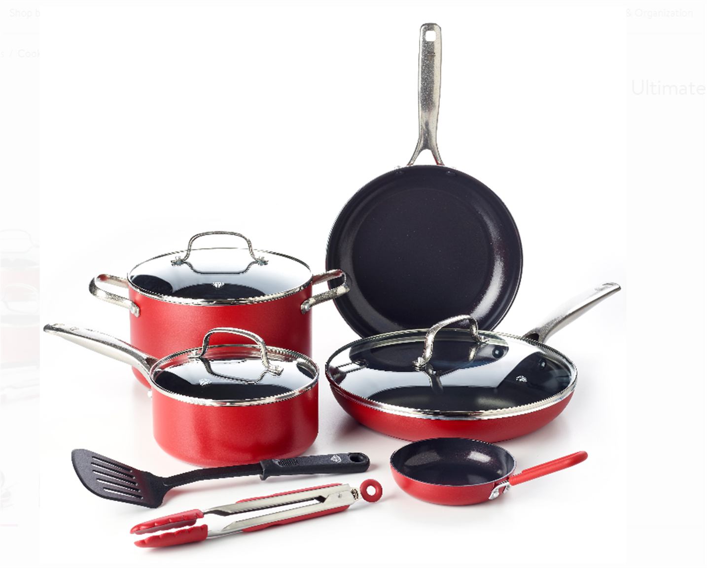 Blue Diamond Ceramic Non-Stick Ultimate Value Cookware Set (Red) Only $42.99, Reg $129.99 + Free Shipping!