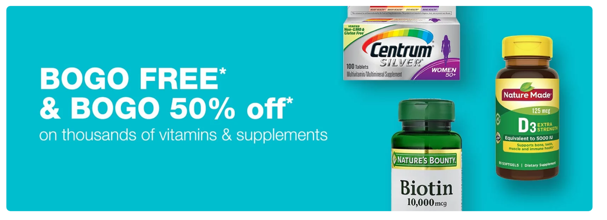 Walgreen's – Buy 1 Get 1 FREE Vitamins and Supplements + $2.00 Off Coupon + Free Store Pickup!