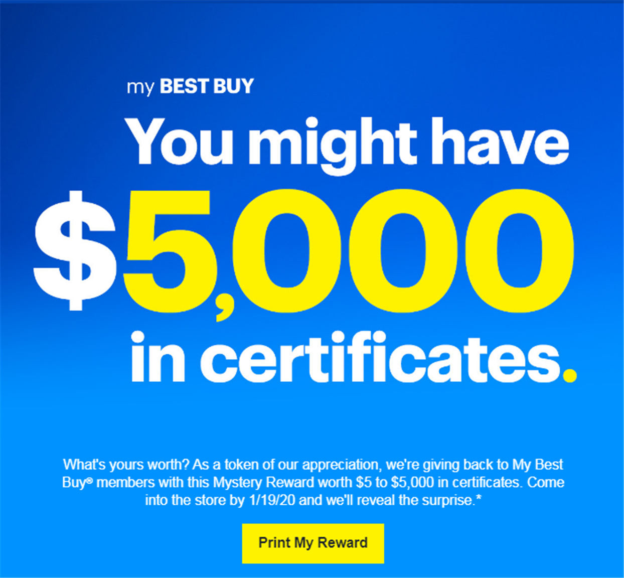 "Best Buy – Check Your Inbox ""$5 to $5,000. How Much is Your Mystery Reward Worth?"""