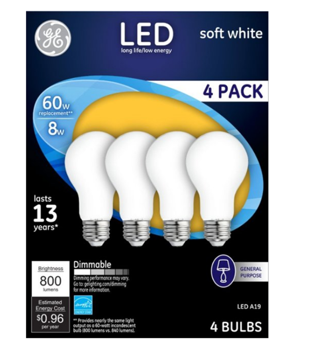 Best Buy – 4 Pack GE 800-Lumen Dimmable A19 LED Light Bulb (Soft White) Only $3.99, Reg $12.99 + Free Store Pickup!