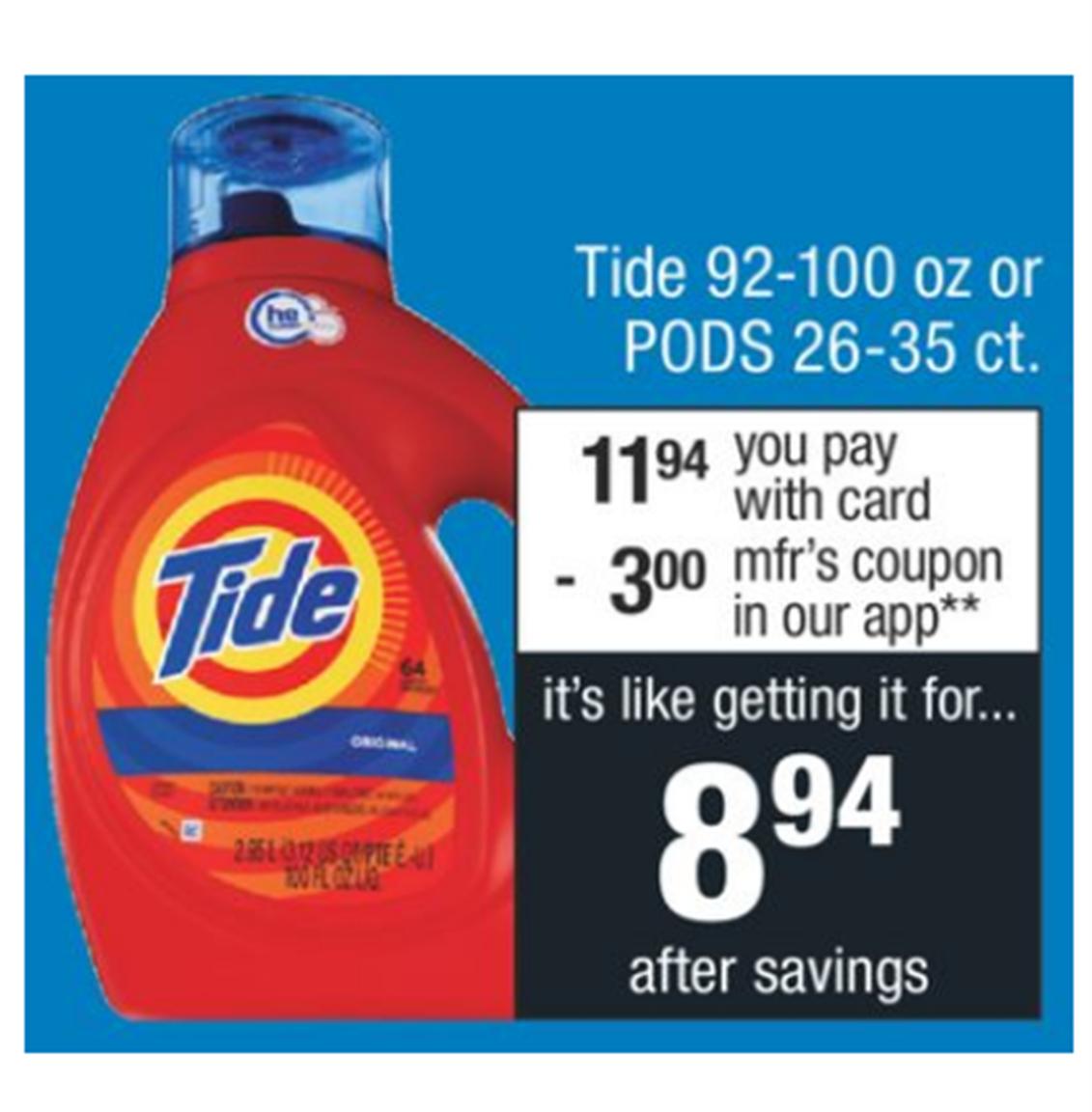 CVS – Tide 92-100 Liquid or Tide Pods 26-35 Count Only $6.44, Reg $15.29!
