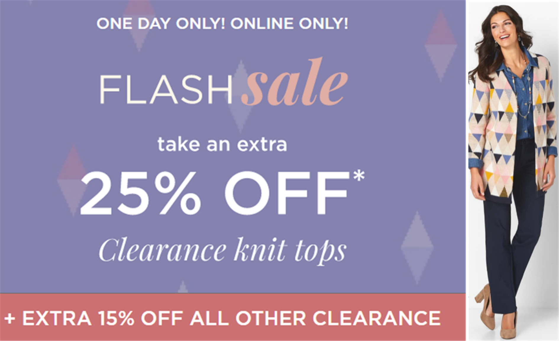 Christopher & Banks – FLASH SALE! Additional 25% off Clearance Knit Tops + Additional $20 off $100!