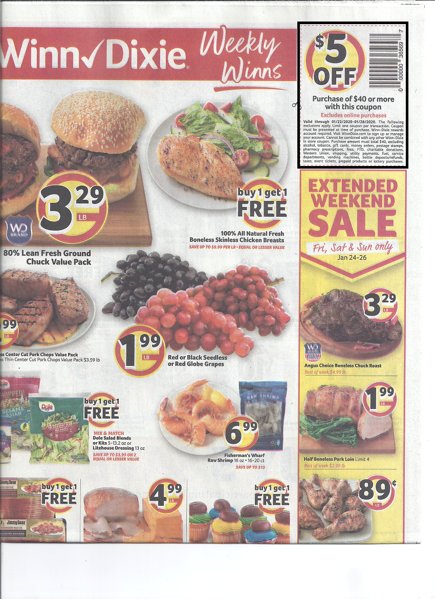Winn Dixie $5 Off $40 Purchase Coupon – Keep an Eye on Your Mailbox!