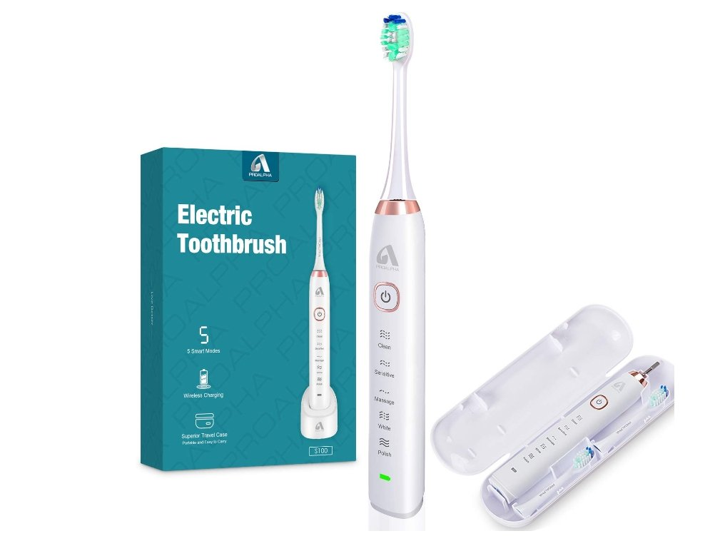Amazon – Proalpha Sonic Wireless Electric Toothbrush with 4 Brush Heads Only $19.77, Reg $39.99 + Free Shipping!