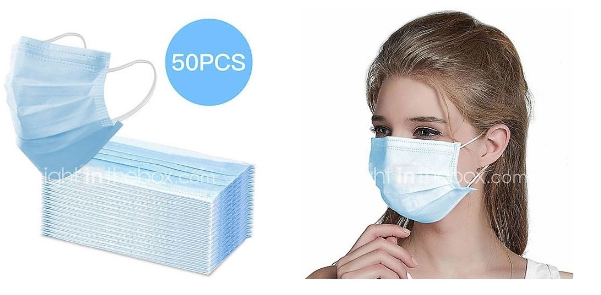 50-Pc Disposable Protective Masks Only $29.99, Reg $67.49 + Shipping is FREE!
