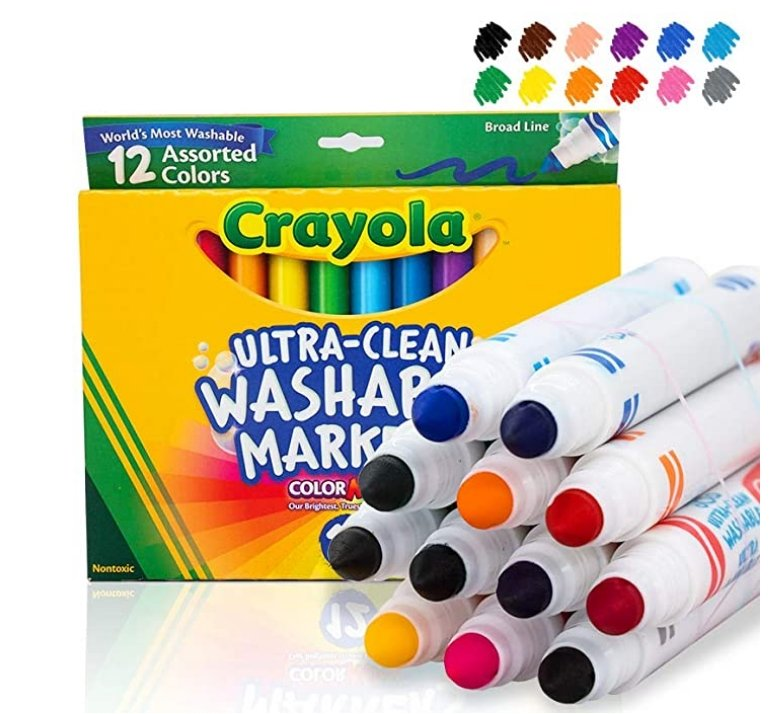 Amazon – Crayola Ultra Clean Washable Markers, Broad Line, 12 Count Only $5.98, Reg $9.99!