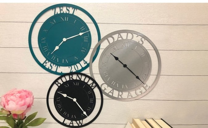 Personalized 11×5 Laser Cut Steel Clock with Multiple Designs Available For Only $22.00, Reg $54.95! GREAT FATHER'S DAY GIFT!